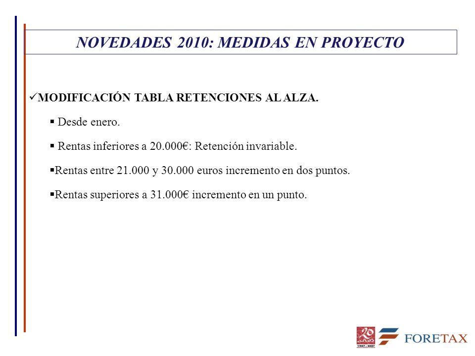 MODIFICACIÓN TABLA RETENCIONES AL ALZA.  Desde enero.