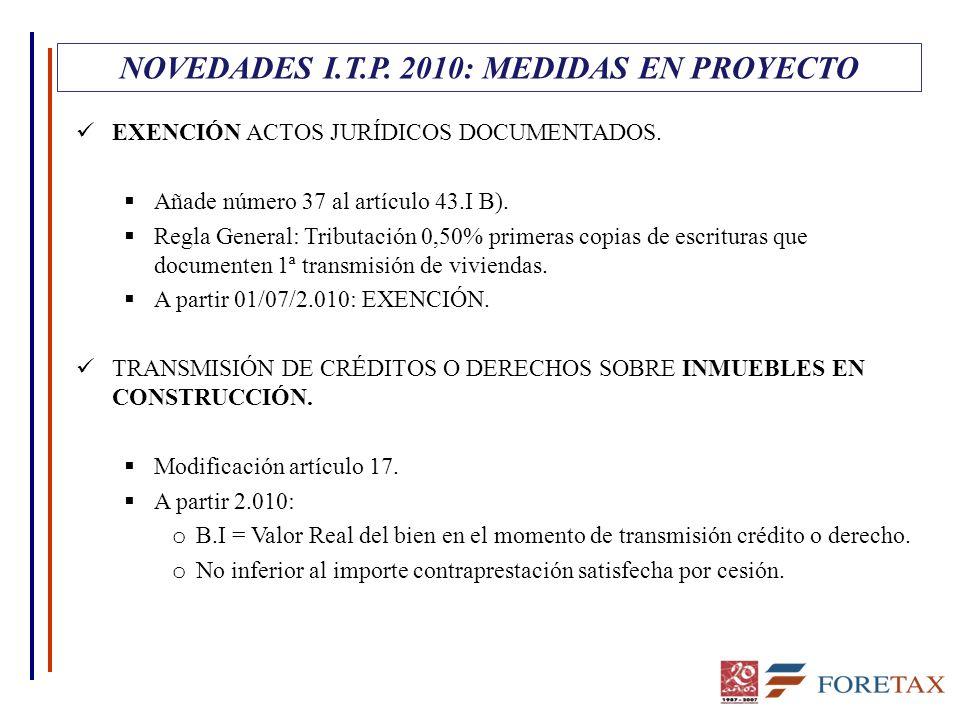 EXENCIÓN ACTOS JURÍDICOS DOCUMENTADOS.  Añade número 37 al artículo 43.I B).