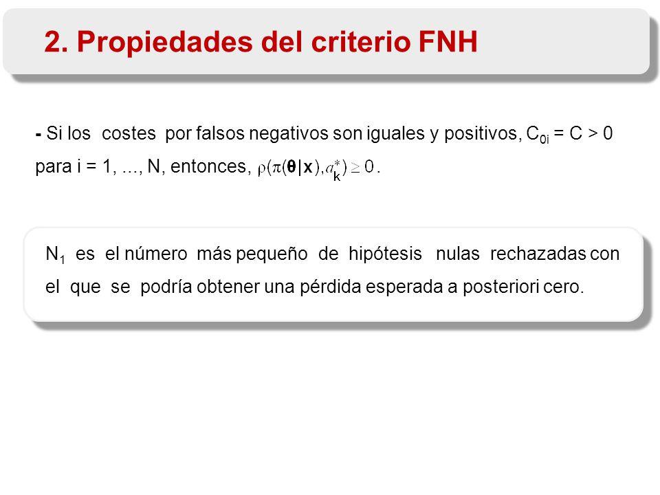- Si los costes por falsos negativos son iguales y positivos, C 0i = C > 0 para i = 1,..., N, entonces,.