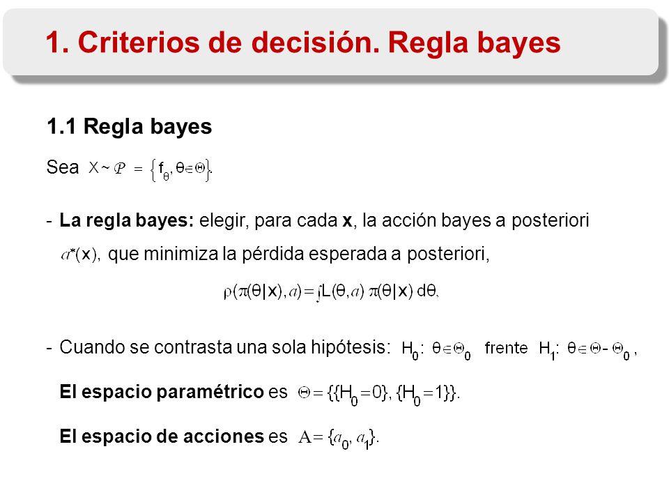 1.1 Regla bayes Sea P -La regla bayes: elegir, para cada x, la acción bayes a posteriori que minimiza la pérdida esperada a posteriori, -Cuando se contrasta una sola hipótesis: El espacio paramétrico es El espacio de acciones es A 1.