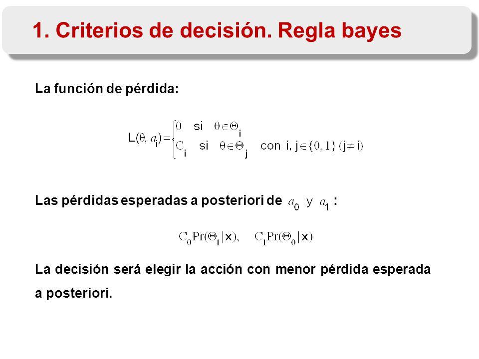 La función de pérdida: Las pérdidas esperadas a posteriori de : La decisión será elegir la acción con menor pérdida esperada a posteriori.