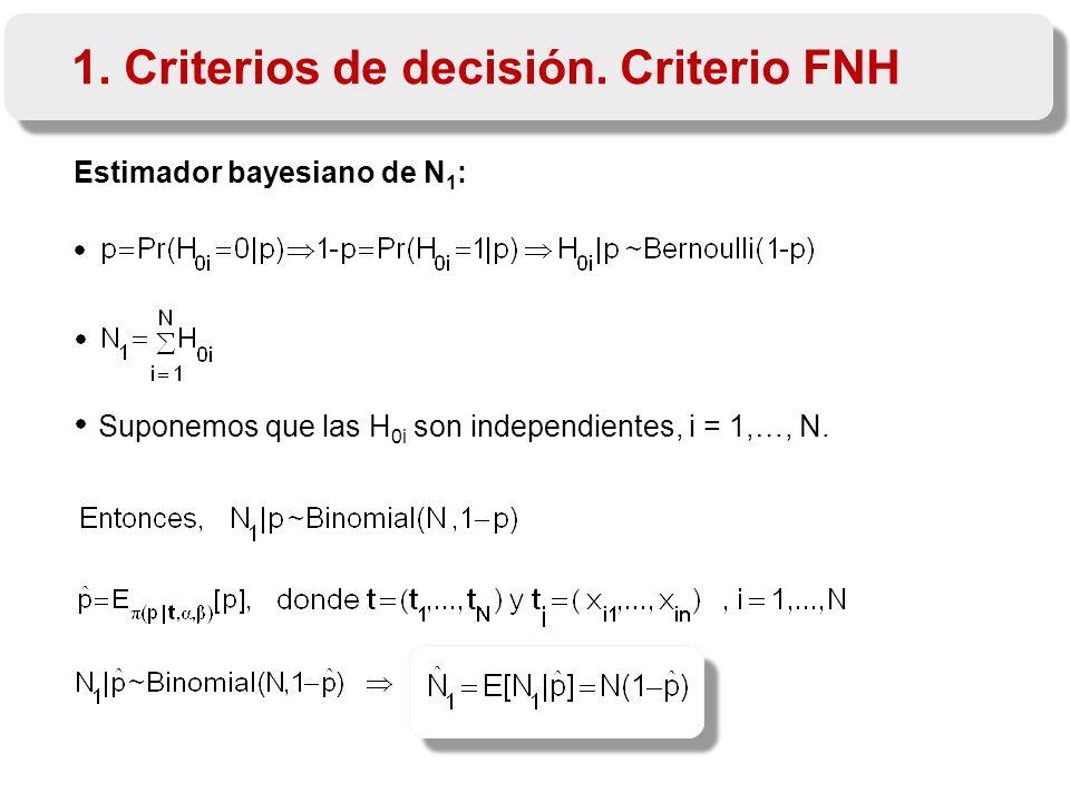 Estimador bayesiano de N 1 : Suponemos que las H 0i son independientes, i = 1,…, N.