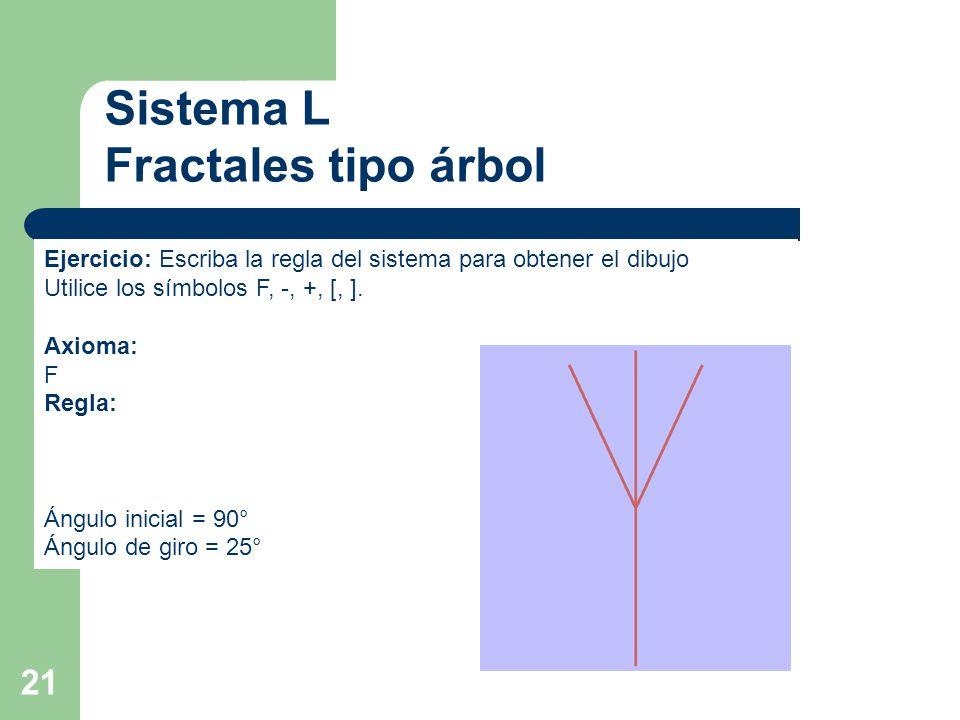 21 Sistema L Fractales tipo árbol Ejercicio: Escriba la regla del sistema para obtener el dibujo Utilice los símbolos F, -, +, [, ].