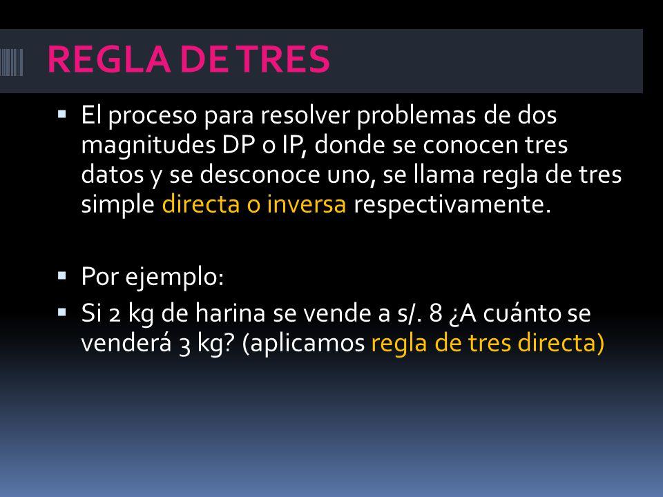 REGLA DE TRES  El proceso para resolver problemas de dos magnitudes DP o IP, donde se conocen tres datos y se desconoce uno, se llama regla de tres simple directa o inversa respectivamente.