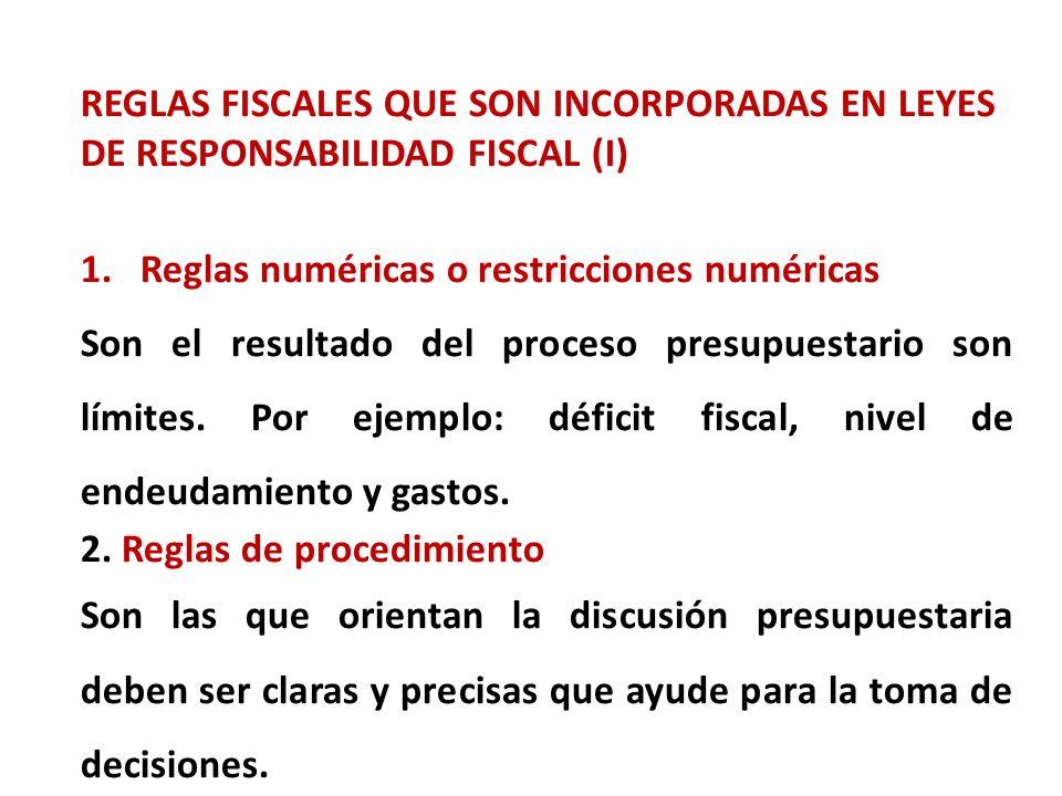 REGLAS FISCALES QUE SON INCORPORADAS EN LEYES DE RESPONSABILIDAD FISCAL (I) 1.Reglas numéricas o restricciones numéricas Son el resultado del proceso presupuestario son límites.