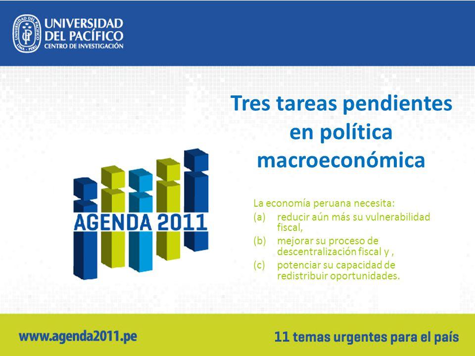 Tres tareas pendientes en política macroeconómica La economía peruana necesita: (a)reducir aún más su vulnerabilidad fiscal, (b)mejorar su proceso de descentralización fiscal y, (c)potenciar su capacidad de redistribuir oportunidades.