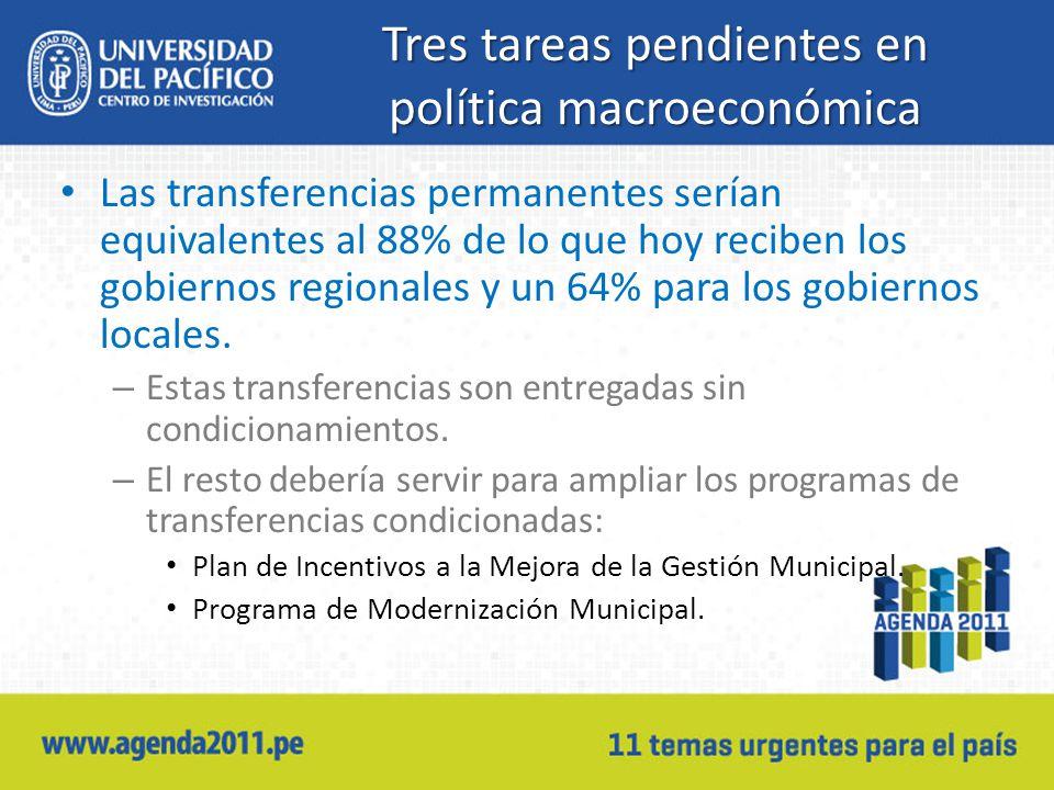 Tres tareas pendientes en política macroeconómica Las transferencias permanentes serían equivalentes al 88% de lo que hoy reciben los gobiernos regionales y un 64% para los gobiernos locales.