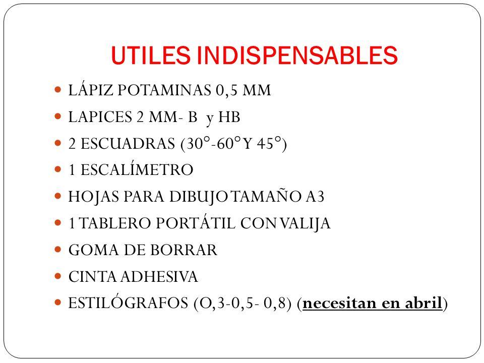 UTILES INDISPENSABLES LÁPIZ POTAMINAS 0,5 MM LAPICES 2 MM- B y HB 2 ESCUADRAS (30°-60° Y 45°) 1 ESCALÍMETRO HOJAS PARA DIBUJO TAMAÑO A3 1 TABLERO PORTÁTIL CON VALIJA GOMA DE BORRAR CINTA ADHESIVA ESTILÓGRAFOS (O,3-0,5- 0,8) (necesitan en abril)