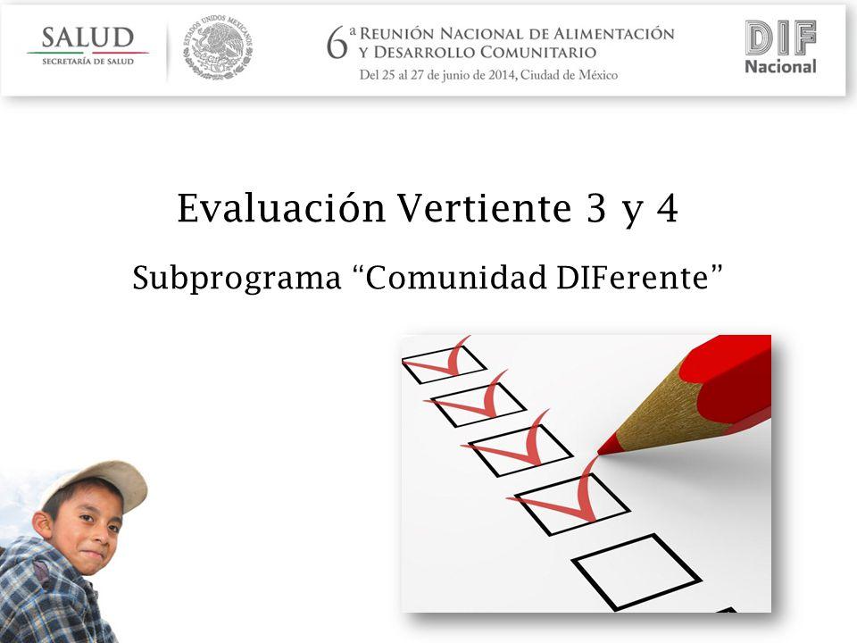 Evaluación Vertiente 3 y 4 Subprograma Comunidad DIFerente