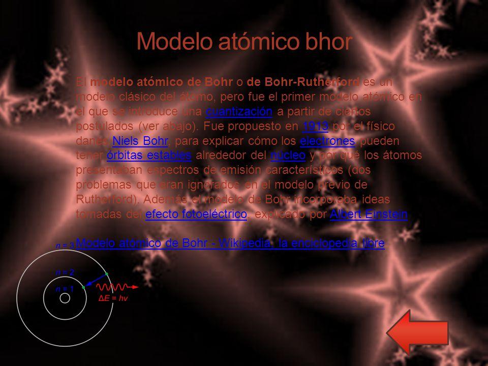 Modelo atómico bhor El modelo atómico de Bohr o de Bohr-Rutherford es un modelo clásico del átomo, pero fue el primer modelo atómico en el que se introduce una cuantización a partir de ciertos postulados (ver abajo).