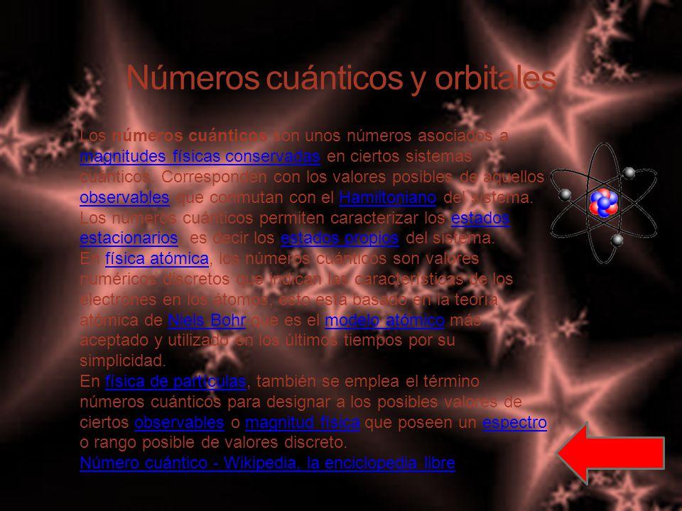 Números cuánticos y orbitales Los números cuánticos son unos números asociados a magnitudes físicas conservadas en ciertos sistemas cuánticos.