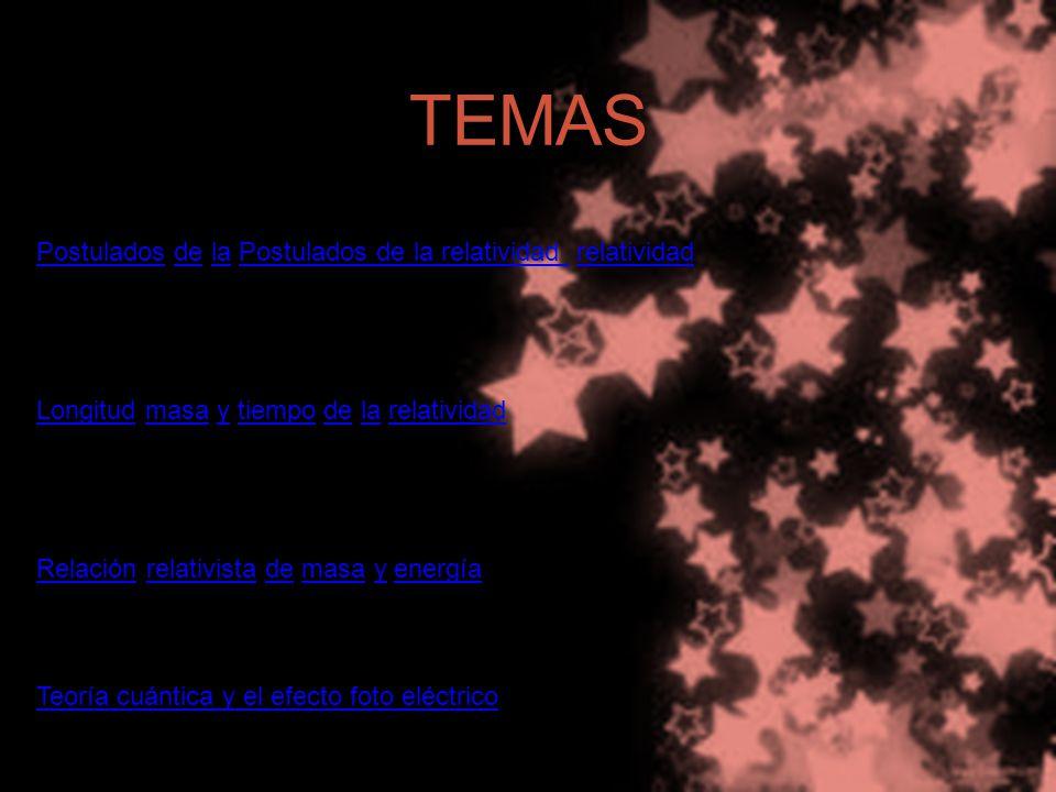 TEMAS PostuladosPostulados de la Postulados de la relatividad relatividaddelaPostulados de la relatividad relatividad LongitudLongitud masa y tiempo de la relatividadmasaytiempodelarelatividad RelaciónRelación relativista de masa y energíarelativistademasayenergía Teoría cuántica y el efecto foto eléctrico