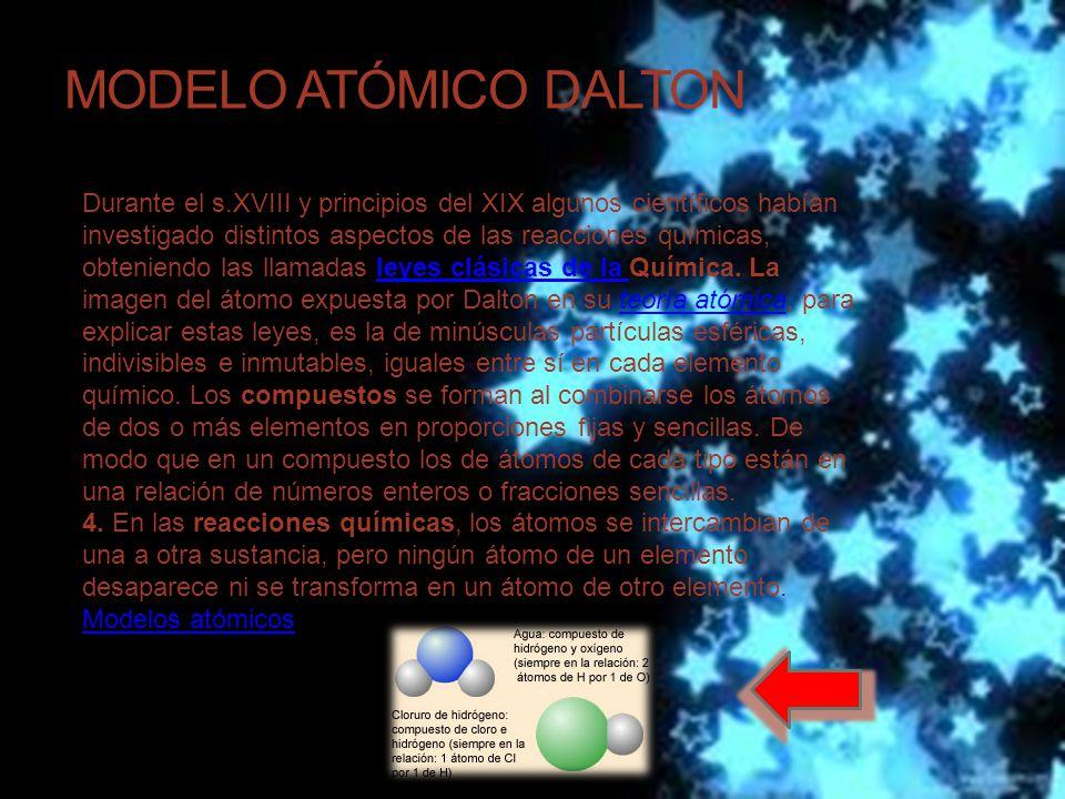 MODELO ATÓMICO DALTON Durante el s.XVIII y principios del XIX algunos científicos habían investigado distintos aspectos de las reacciones químicas, obteniendo las llamadas leyes clásicas de la Química.