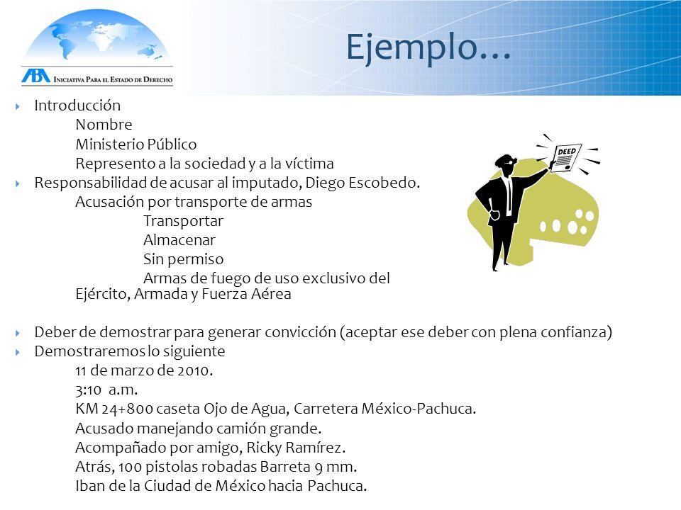 Ejemplo…  Introducción Nombre Ministerio Público Represento a la sociedad y a la víctima  Responsabilidad de acusar al imputado, Diego Escobedo.