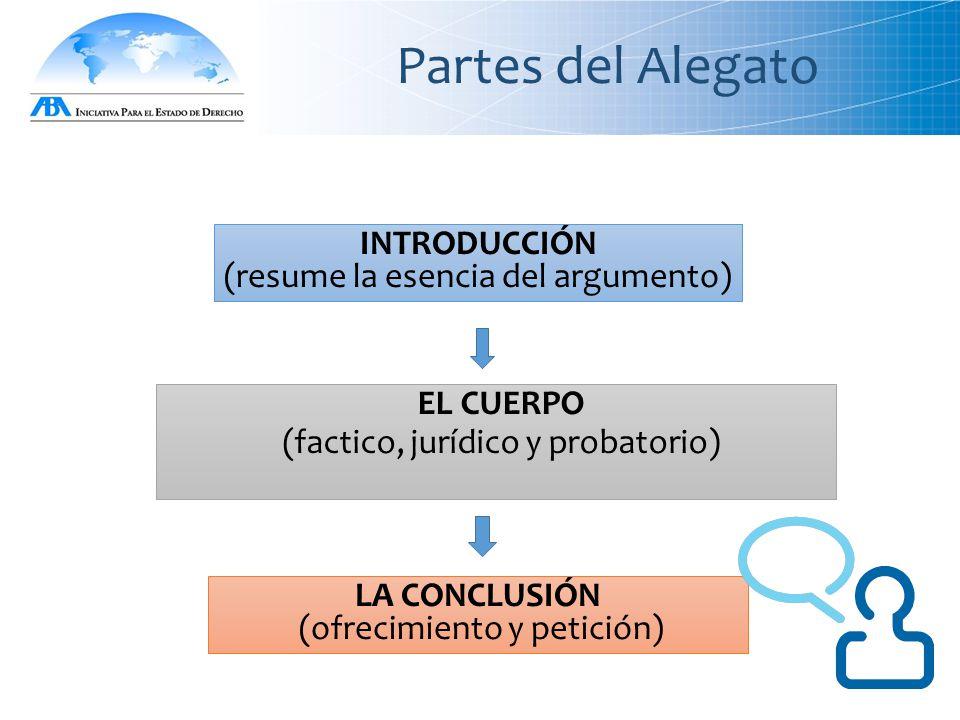 Partes del Alegato INTRODUCCIÓN (resume la esencia del argumento) LA CONCLUSIÓN (ofrecimiento y petición) EL CUERPO (factico, jurídico y probatorio)