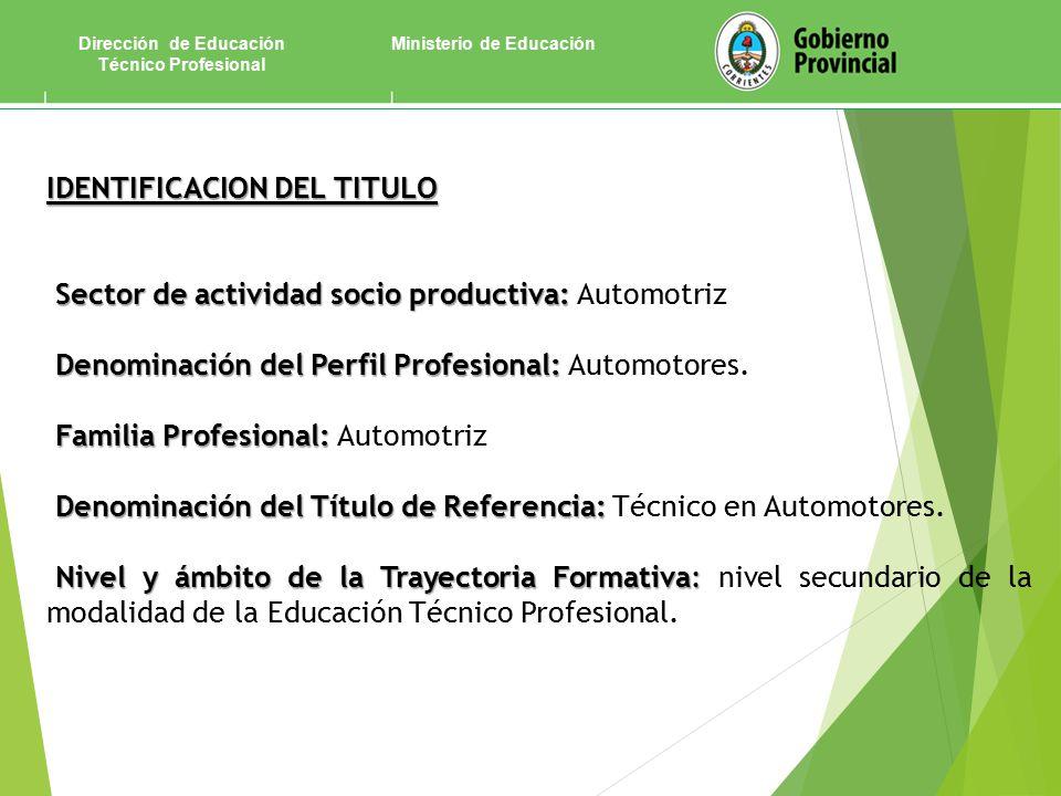 Ministerio de EducaciónDirección de Educación Técnico Profesional IDENTIFICACION DEL TITULO Sector de actividad socio productiva: Sector de actividad socio productiva: Automotriz Denominación del Perfil Profesional: Denominación del Perfil Profesional: Automotores.