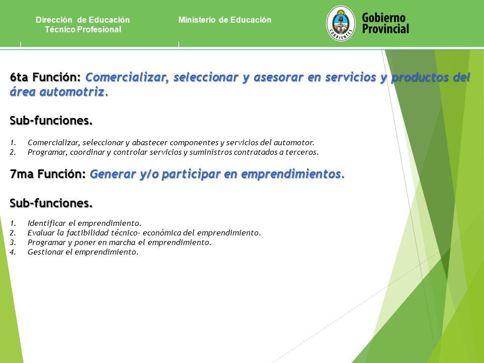 Ministerio de EducaciónDirección de Educación Técnico Profesional 6ta Función:Comercializar, seleccionar y asesorar en servicios y productos del área automotriz.
