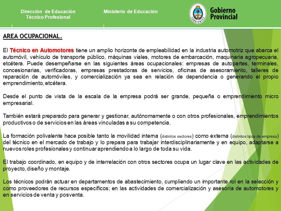 Ministerio de EducaciónDirección de Educación Técnico Profesional AREA OCUPACIONAL.