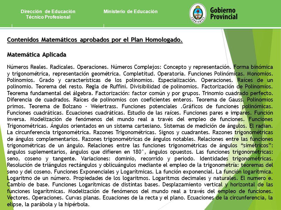 Ministerio de EducaciónDirección de Educación Técnico Profesional Contenidos Matemáticos aprobados por el Plan Homologado.