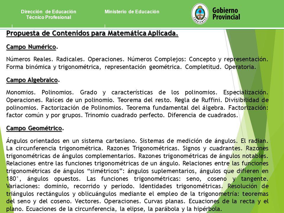 Ministerio de EducaciónDirección de Educación Técnico Profesional Propuesta de Contenidos para Matemática Aplicada.