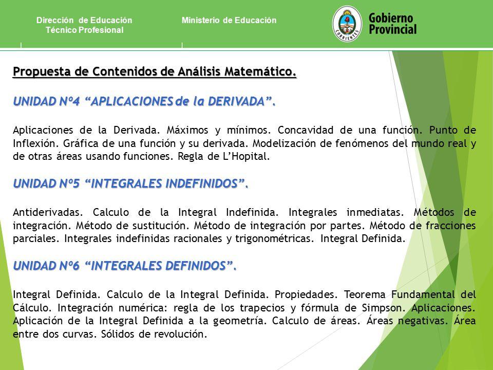 Ministerio de EducaciónDirección de Educación Técnico Profesional Propuesta de Contenidos de Análisis Matemático.
