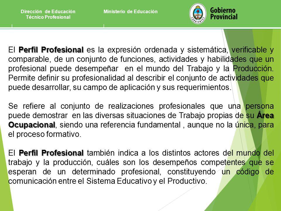 Ministerio de EducaciónDirección de Educación Técnico Profesional Perfil Profesional El Perfil Profesional es la expresión ordenada y sistemática, verificable y comparable, de un conjunto de funciones, actividades y habilidades que un profesional puede desempeñar en el mundo del Trabajo y la Producción.