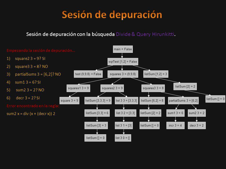 Sesión de depuración con la búsqueda Divide & Query Hirunkitti.