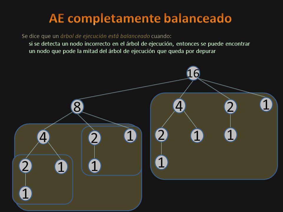 4 1 2 1 1 2 1 8 4 1 2 1 1 2 1 16 Se dice que un árbol de ejecución está balanceado cuando: si se detecta un nodo incorrecto en el árbol de ejecución, entonces se puede encontrar un nodo que pode la mitad del árbol de ejecución que queda por depurar