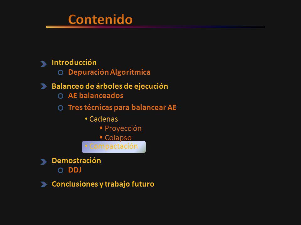 Introducción Depuración Algorítmica Balanceo de árboles de ejecución AE balanceados Tres técnicas para balancear AE Demostración DDJ Conclusiones y trabajo futuro  Proyección  Colapso Compactación Cadenas