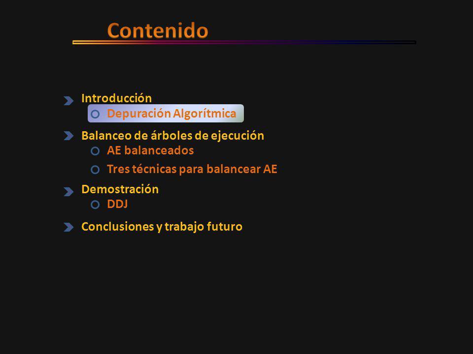 Introducción Depuración Algorítmica Balanceo de árboles de ejecución AE balanceados Tres técnicas para balancear AE Demostración DDJ Conclusiones y trabajo futuro