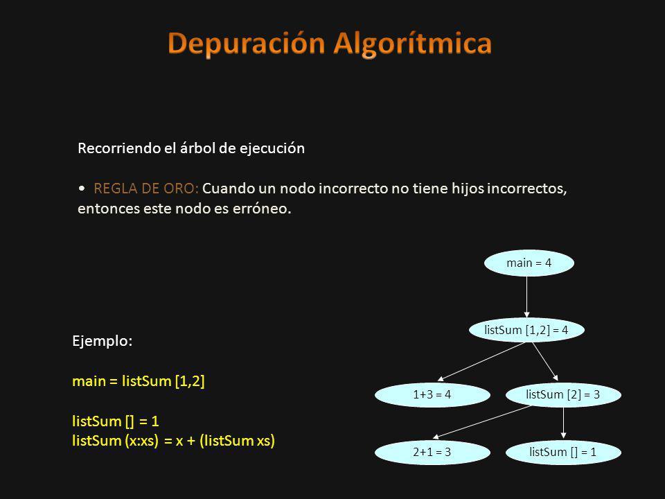 Recorriendo el árbol de ejecución REGLA DE ORO: Cuando un nodo incorrecto no tiene hijos incorrectos, entonces este nodo es erróneo.