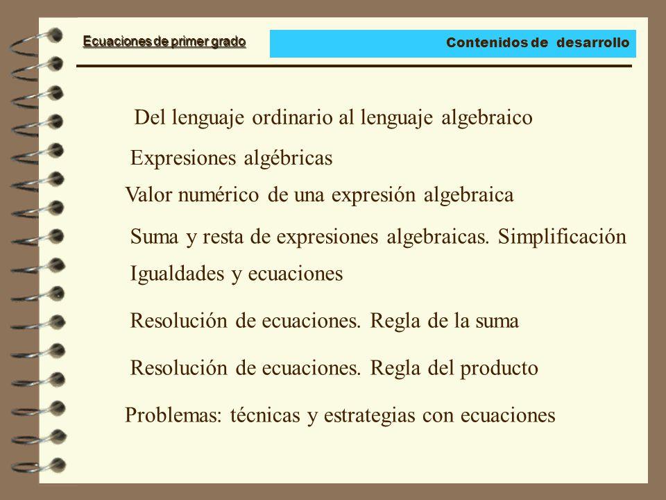 Ecuaciones de primer grado Del lenguaje ordinario al lenguaje algebraico Expresiones algébricas Valor numérico de una expresión algebraica Suma y resta de expresiones algebraicas.