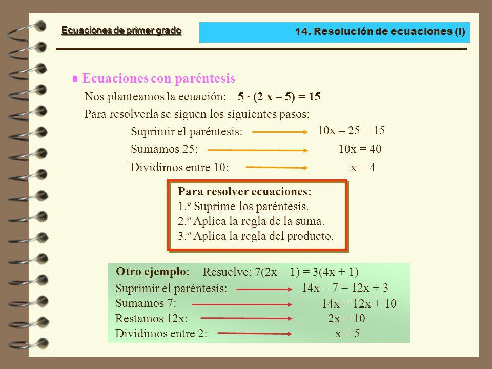 Ecuaciones de primer grado La utilización de la reglas de la suma y del producto permite simplificar todas las ecuaciones de primer grado, esto es, hacerlas más sencillas.