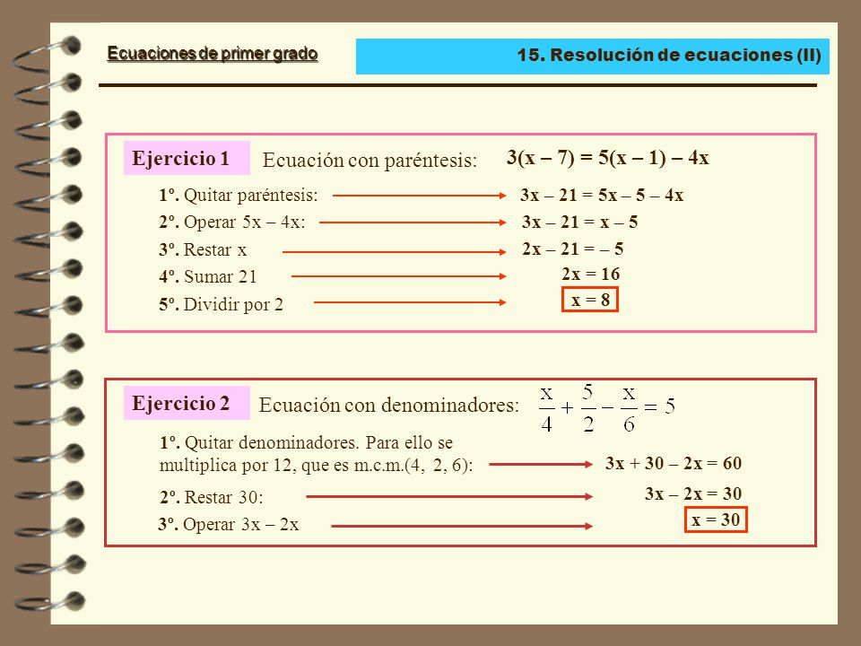 Ecuaciones de primer grado Ecuaciones con paréntesis Para resolver ecuaciones: Sumamos 25: 1.º Suprime los paréntesis.