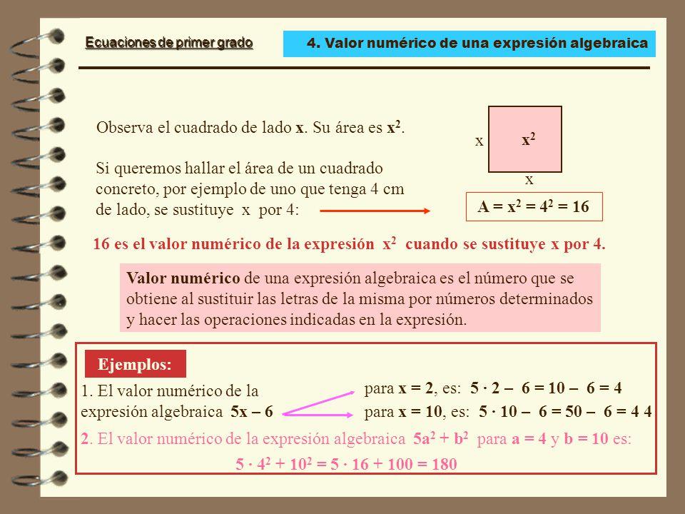 Ecuaciones de primer grado Observa el cuadrado de lado x.