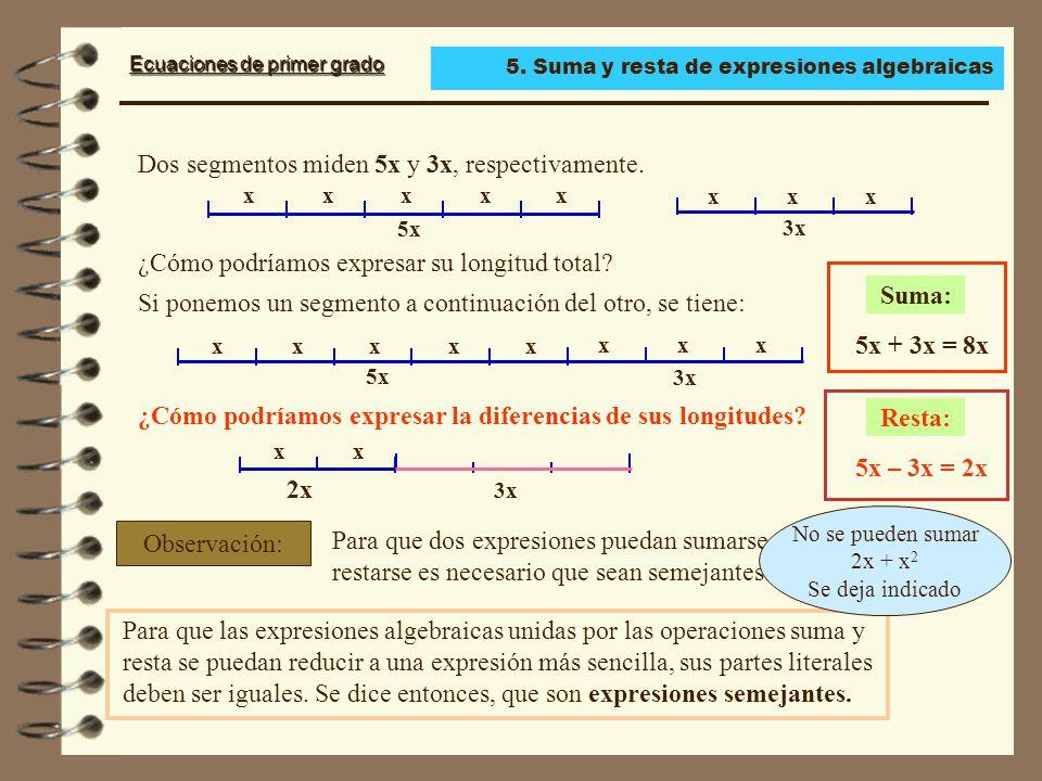 Ecuaciones de primer grado Dos segmentos miden 5x y 3x, respectivamente.