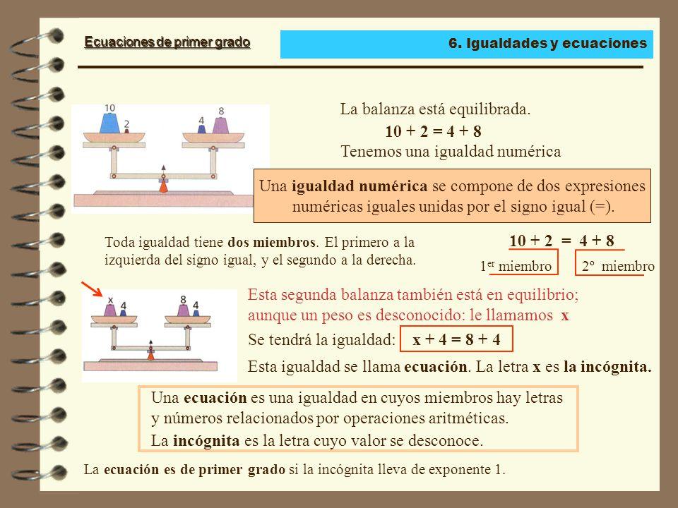 Ecuaciones de primer grado La balanza está equilibrada.