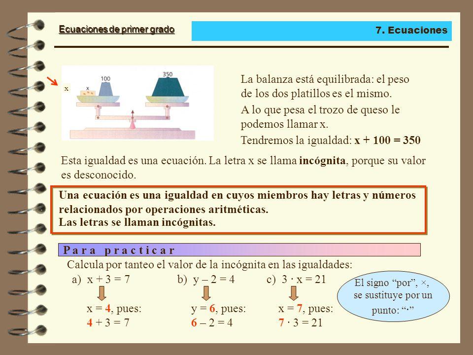 Ecuaciones de primer grado La balanza está equilibrada: el peso de los dos platillos es el mismo.
