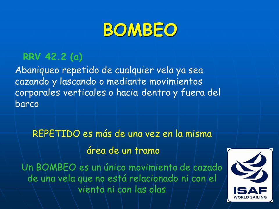 BOMBEO RRV 42.2 (a) Abaniqueo repetido de cualquier vela ya sea cazando y lascando o mediante movimientos corporales verticales o hacia dentro y fuera del barco REPETIDO es más de una vez en la misma área de un tramo Un BOMBEO es un único movimiento de cazado de una vela que no está relacionado ni con el viento ni con las olas