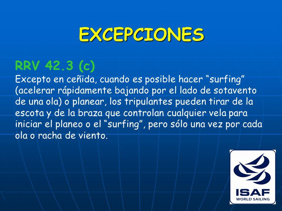 EXCEPCIONES RRV 42.3 (c) Excepto en ceñida, cuando es posible hacer surfing (acelerar rápidamente bajando por el lado de sotavento de una ola) o planear, los tripulantes pueden tirar de la escota y de la braza que controlan cualquier vela para iniciar el planeo o el surfing , pero sólo una vez por cada ola o racha de viento.