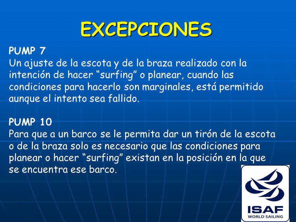 EXCEPCIONES PUMP 7 Un ajuste de la escota y de la braza realizado con la intención de hacer surfing o planear, cuando las condiciones para hacerlo son marginales, está permitido aunque el intento sea fallido.