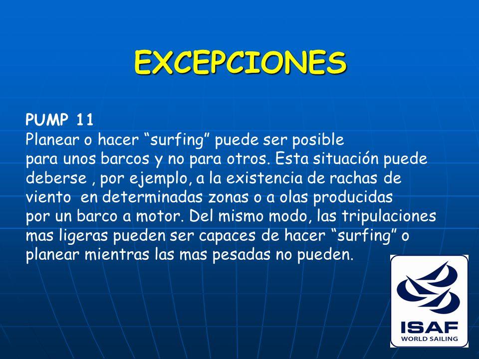 EXCEPCIONES PUMP 11 Planear o hacer surfing puede ser posible para unos barcos y no para otros.