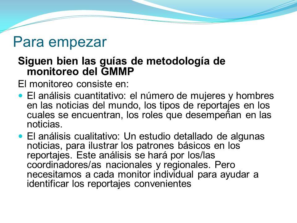 Siguen bien las guías de metodología de monitoreo del GMMP El monitoreo consiste en: El análisis cuantitativo: el número de mujeres y hombres en las noticias del mundo, los tipos de reportajes en los cuales se encuentran, los roles que desempeñan en las noticias.