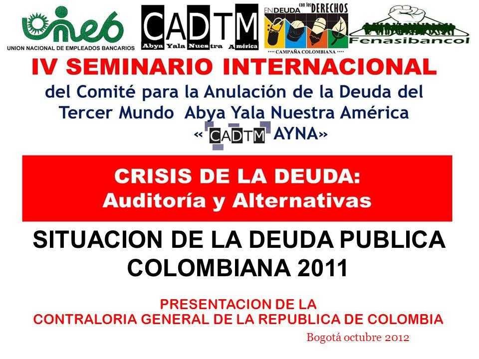 SITUACION DE LA DEUDA PUBLICA COLOMBIANA 2011 PRESENTACION DE LA CONTRALORIA GENERAL DE LA REPUBLICA DE COLOMBIA Bogotá octubre 2012