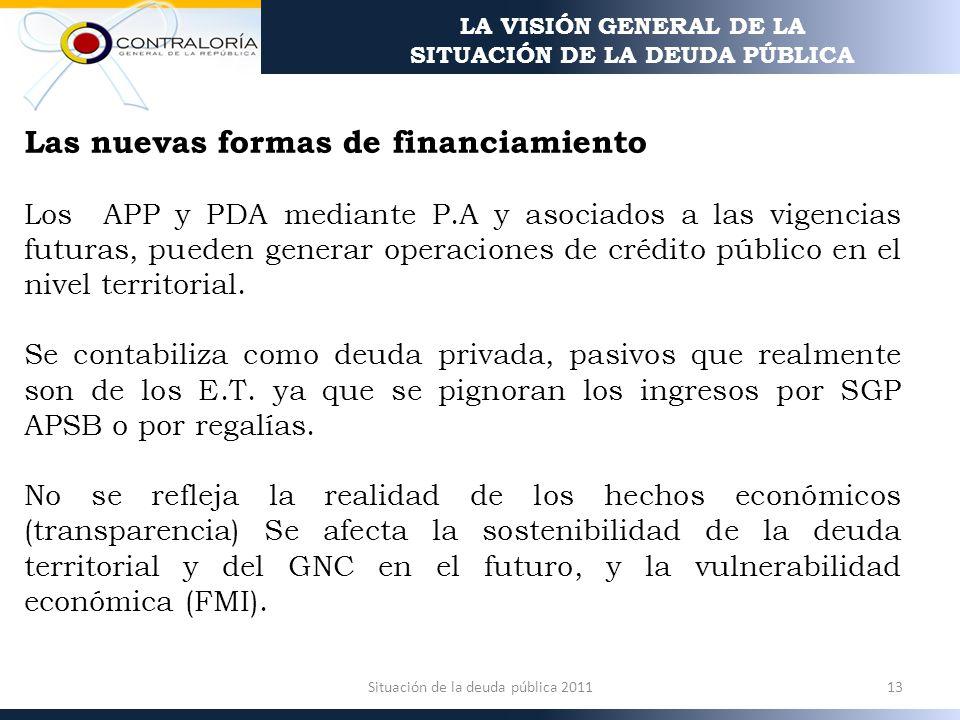 Las nuevas formas de financiamiento Los APP y PDA mediante P.A y asociados a las vigencias futuras, pueden generar operaciones de crédito público en el nivel territorial.