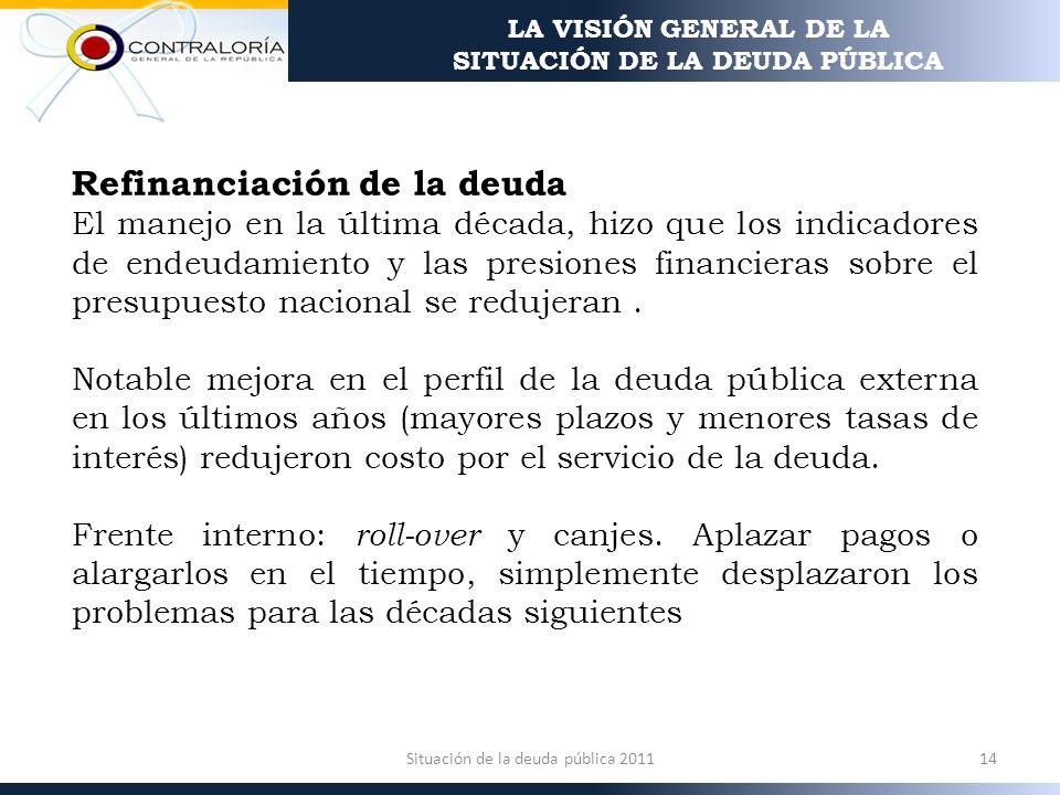 Refinanciación de la deuda El manejo en la última década, hizo que los indicadores de endeudamiento y las presiones financieras sobre el presupuesto nacional se redujeran.