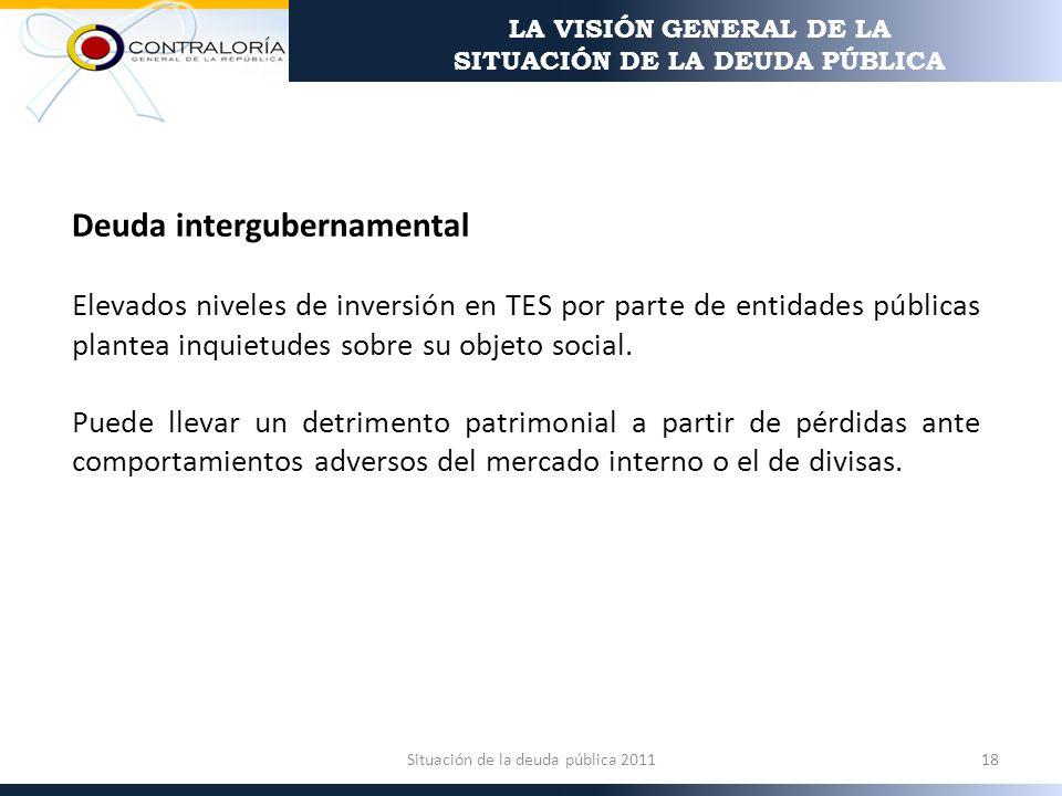 Deuda intergubernamental Elevados niveles de inversión en TES por parte de entidades públicas plantea inquietudes sobre su objeto social.