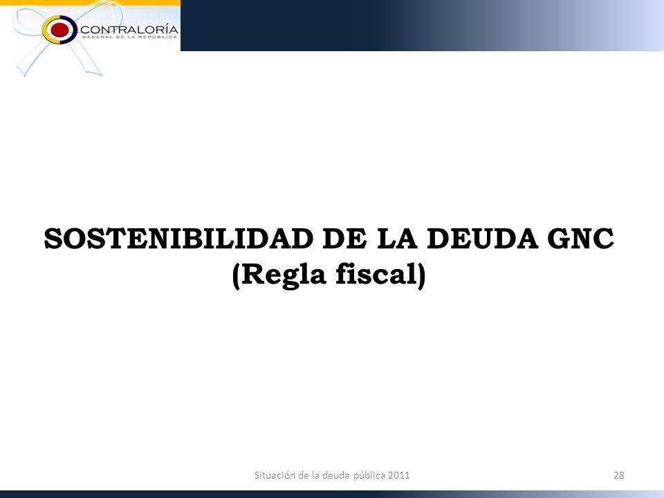 SOSTENIBILIDAD DE LA DEUDA GNC (Regla fiscal) 28Situación de la deuda pública 2011
