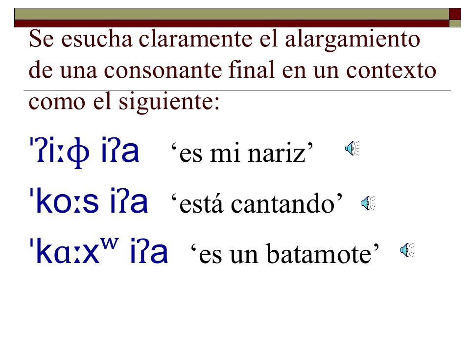 Se esucha claramente el alargamiento de una consonante final en un contexto como el siguiente: ˈʔɑ p i ʔ a 'es un venado bura' ˈ ko ɸ i ʔ a 'es un sanjuanico' ˈʔ ok ʷ i ʔ a 'es madera aserrada'