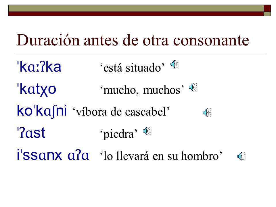 Se esucha claramente el alargamiento de una consonante final en un contexto como el siguiente: ˈʔ i ːɸ i ʔ a 'es mi nariz' ˈ ko ː s i ʔ a 'está cantando' ˈ k ɑː x ʷ i ʔ a 'es un batamote'